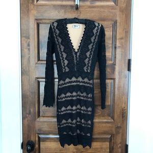 Nightcap Clothing Deep V Victorian Dress in Black